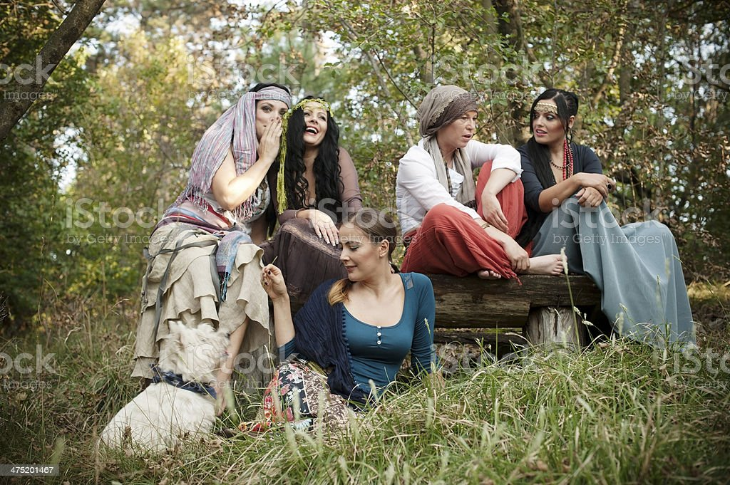 Group of Cheerful Bohemian Gypsy Women royalty-free stock photo