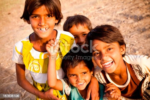 Group of Cheerful Rural Indian Children in Rajasthan just before the sunset