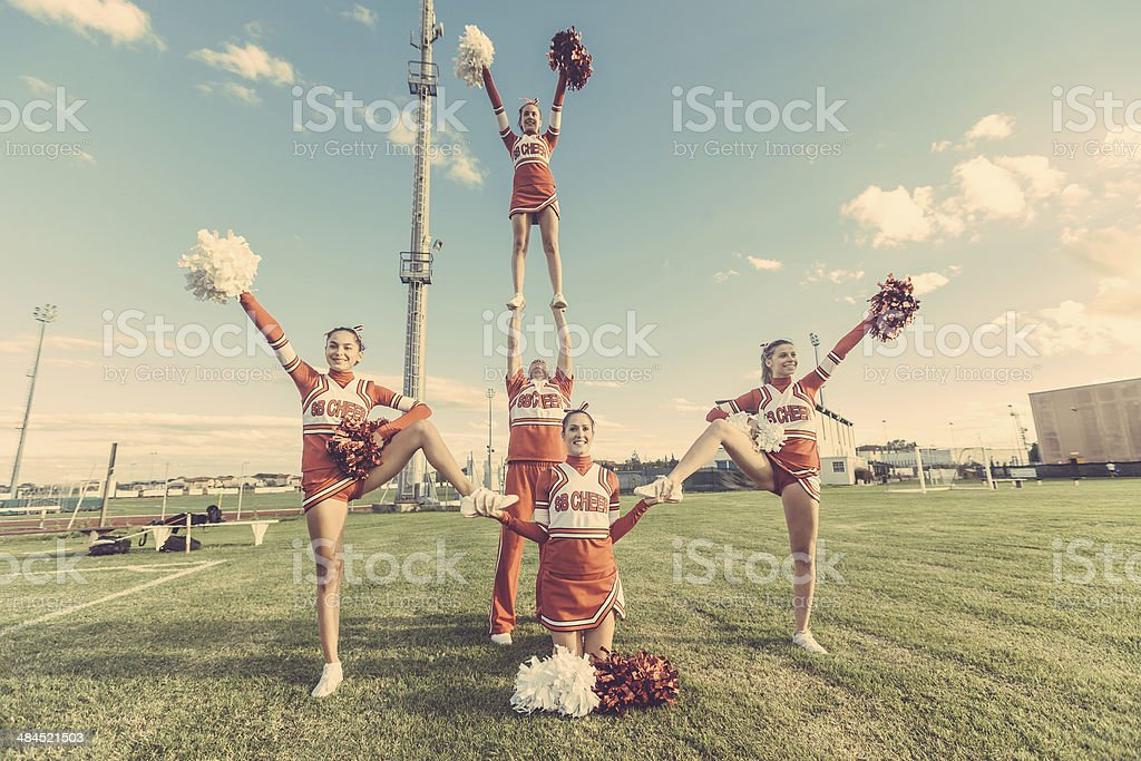 Group of Cheerleaders in the Field stock photo
