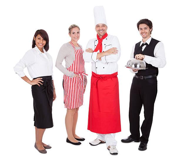 grupa kucharz i kelnerzy - pięciolinia zdjęcia i obrazy z banku zdjęć