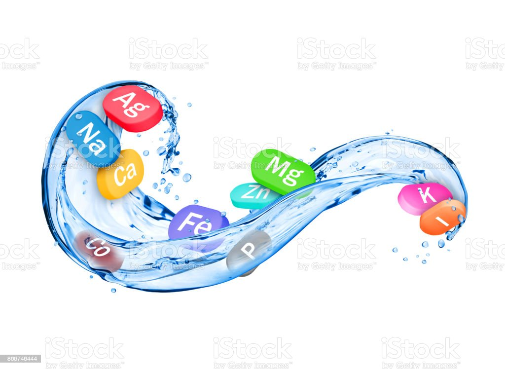 Group of chemical minerals and microelements in the form of pills with splashes of water stock photo