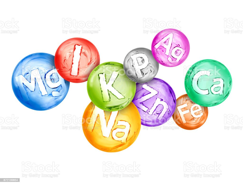 Group of chemical minerals and microelements in the form of water spheres are located chaotically stock photo