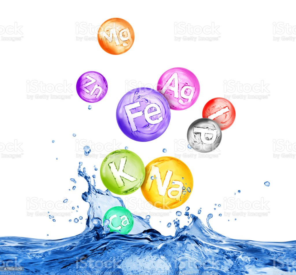 Group of chemical minerals and microelements in water splashes stock photo