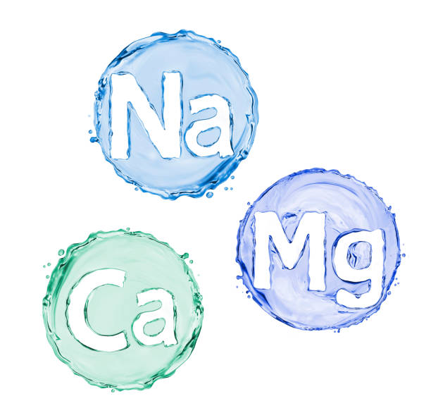 group of chemical minerals and microelements. (calcium, natrium, magnesium) - magnesium stock photos and pictures