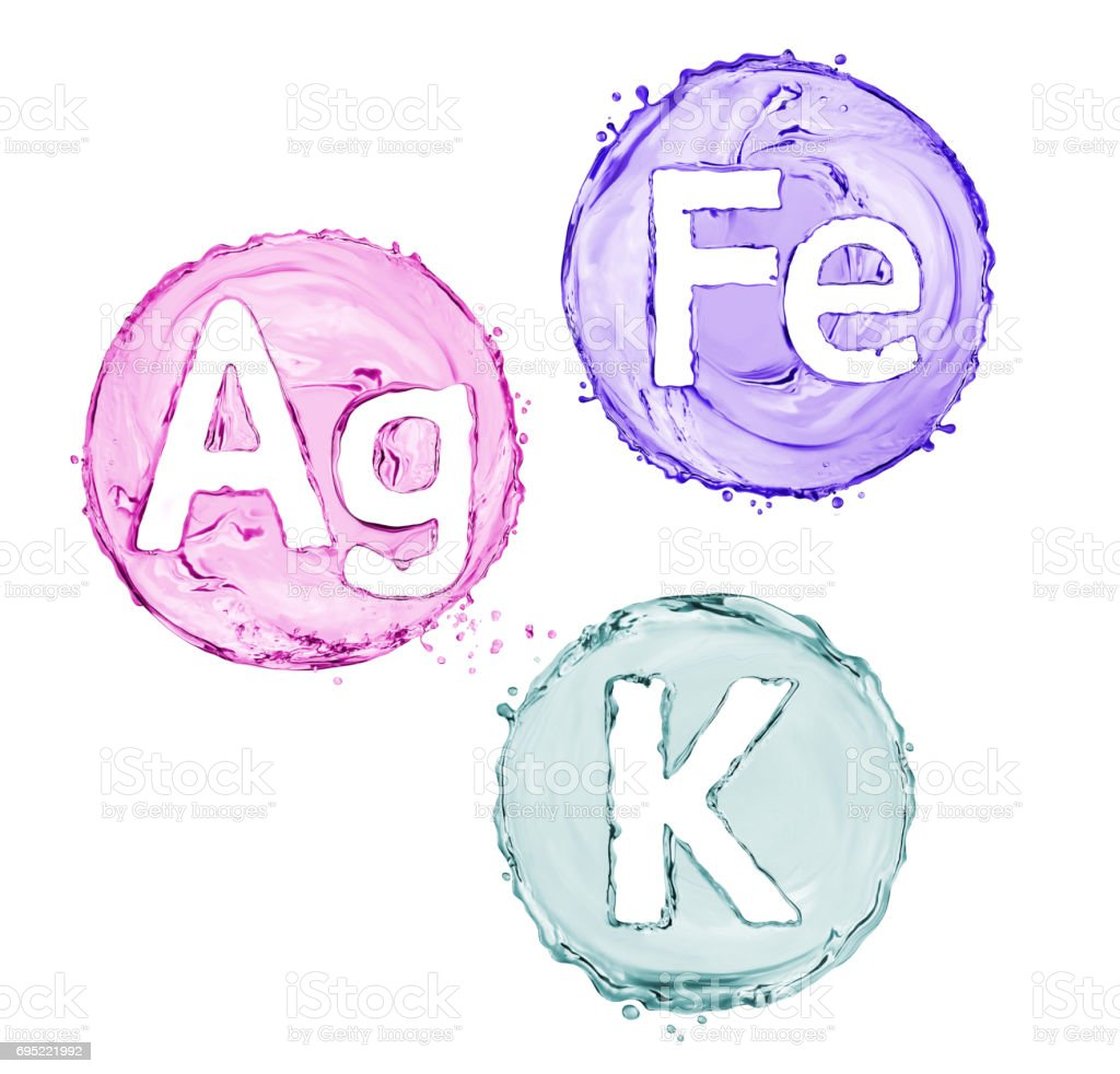 Group of chemical minerals and microelements. (Argentum, Ferrum, Kalium) stock photo