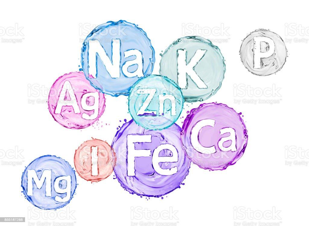 Group of chemical minerals and microelements. (Argentum, Ferrum, Kalium,Calcium, Natrium, Magnesium,Phosphorus,Iodum,Zincum) stock photo