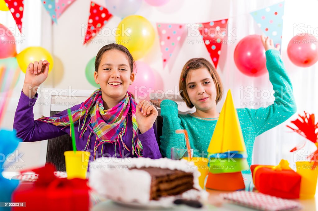 Group of child happy birthday party. Selective focus stock photo