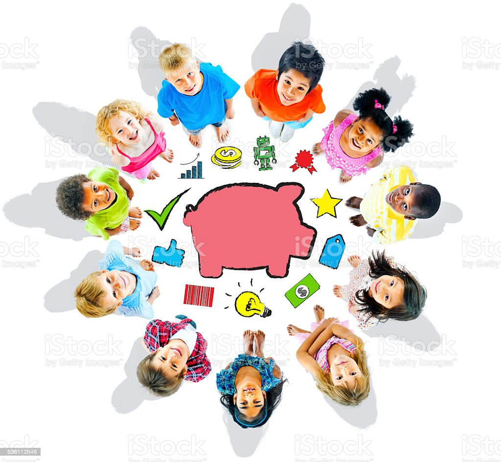 Group of Children and Saving Concept stock photo