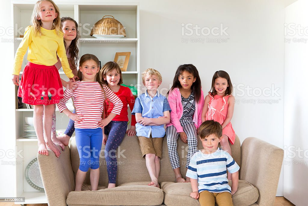 Group of Children at Home stock photo