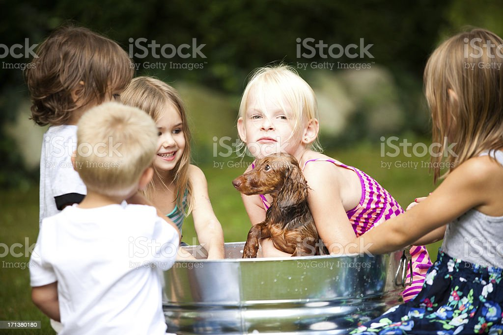 Group of Children Giving Puppy a Bath royalty-free stock photo