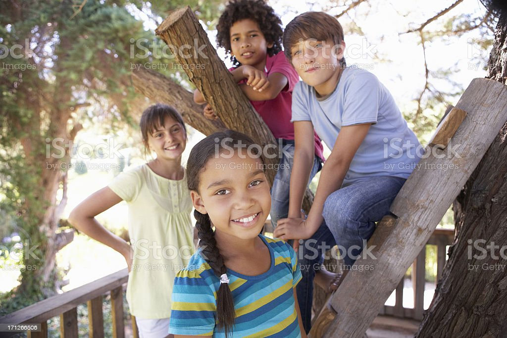 Group Of Children Hanging Out In Treehouse Together stock photo