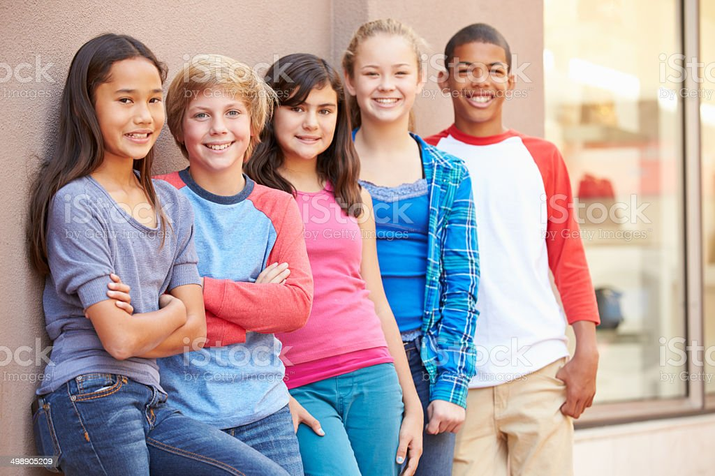 Group Of Children Hanging Out Together In Mall royalty-free stock photo