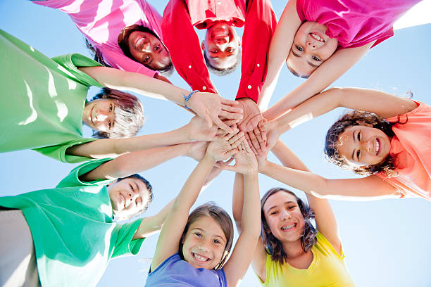 Group of Children in a Circle stock photo