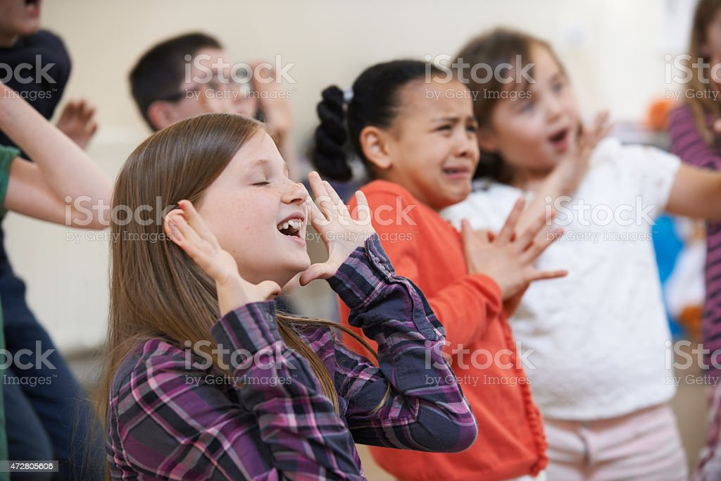 Group of children in a Drama class stock photo