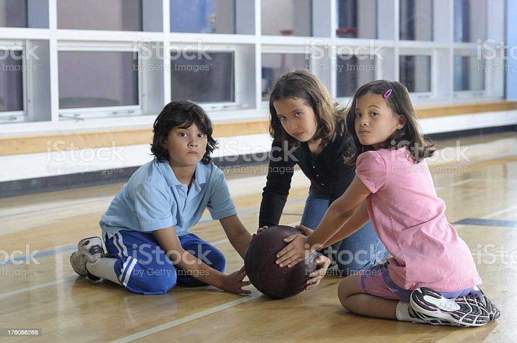 Group of children in a school gym royalty-free stock photo