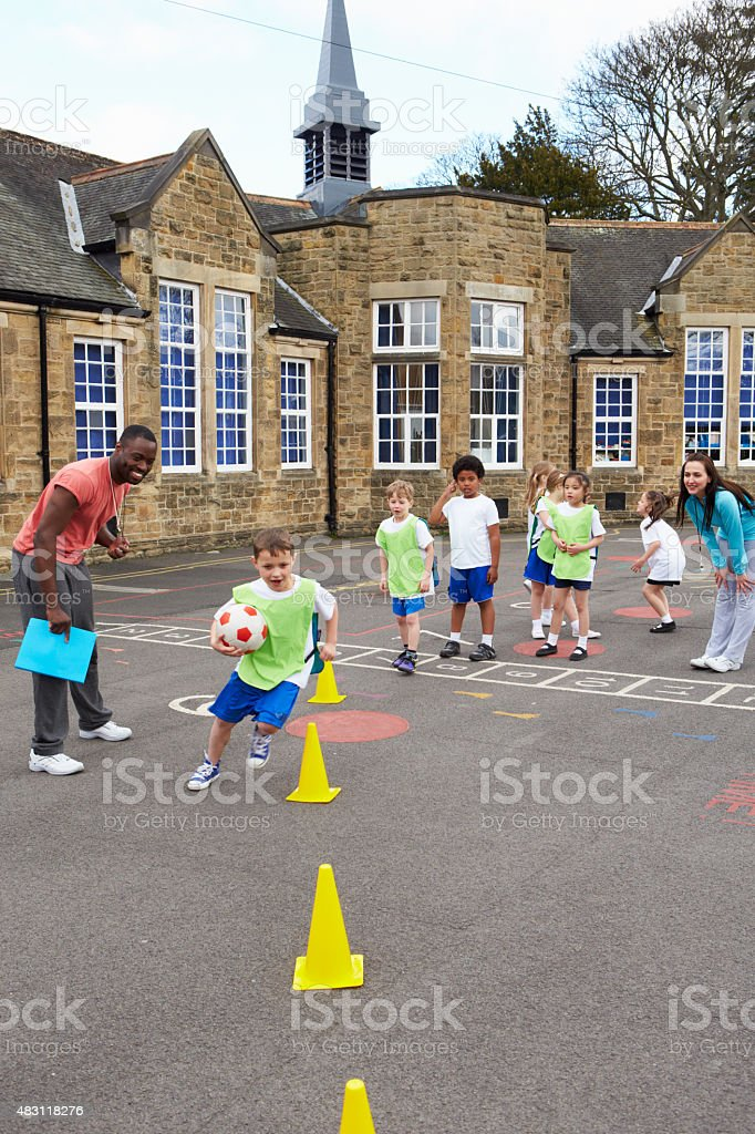 Group Of Children In School Physical Education Class stock photo