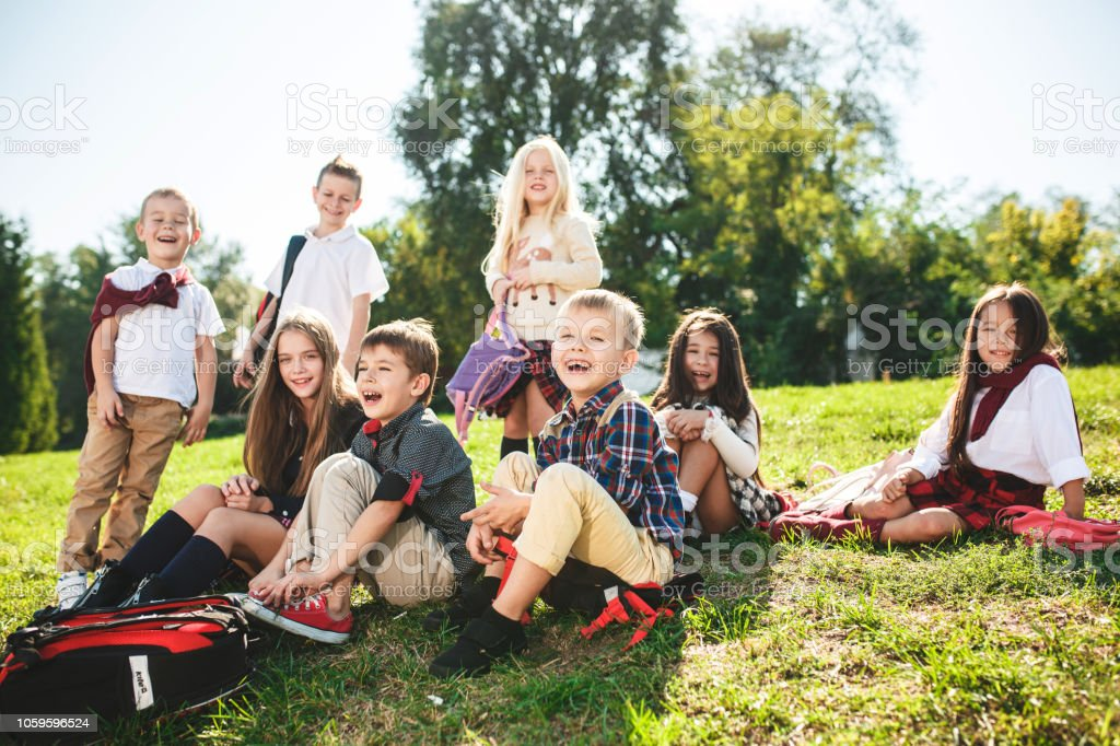 A group of happy smiling children sitting on the green grass in the...