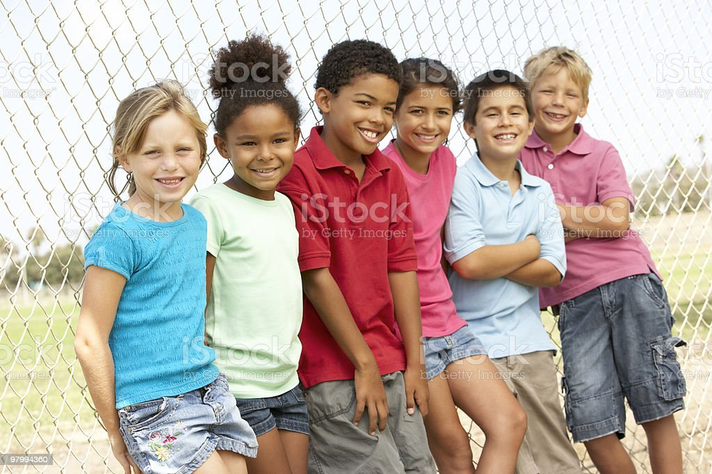 Group Of Children Playing In Park royalty-free stock photo