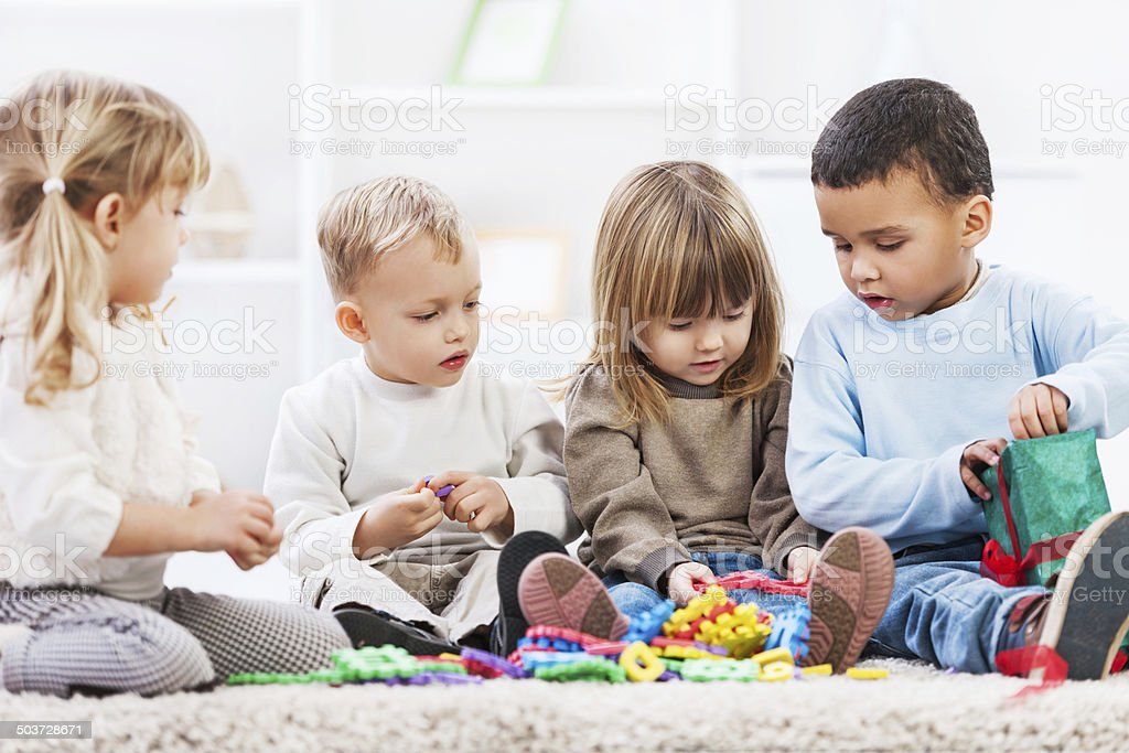 Group of children playing. stock photo