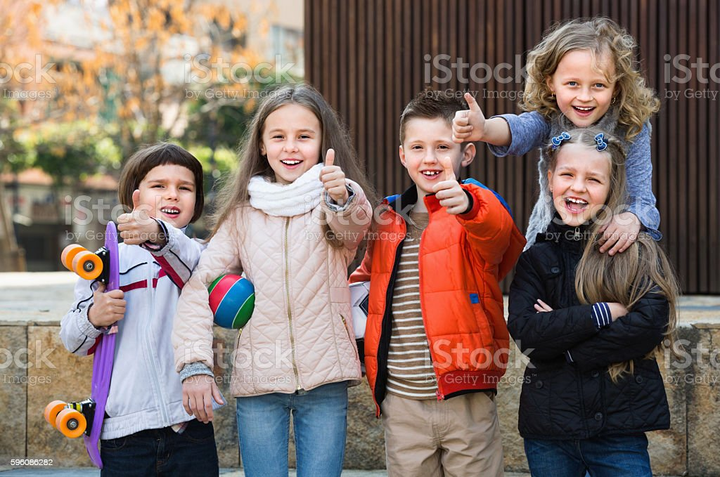 Group of children posing at urban street royalty-free stock photo