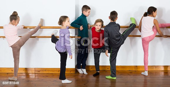 istock Group of children practicing at the ballet barre 638181648