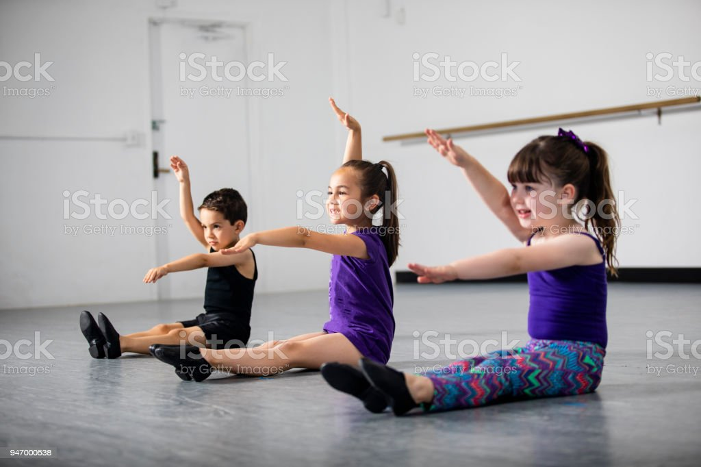 Group of Children Practicing Dance at Studio stock photo