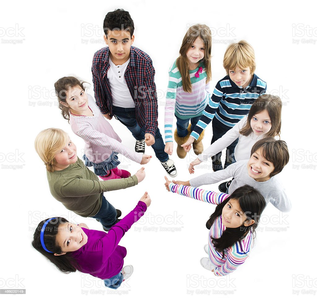 Group of children showing thumbs up royalty-free stock photo