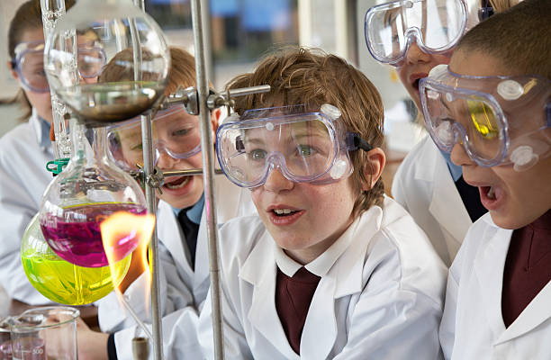 Group of children (9-12) watching experiment in school laboratory stock photo