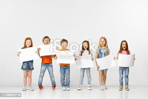 istock Group of children with a white banners isolated in white 1138653716