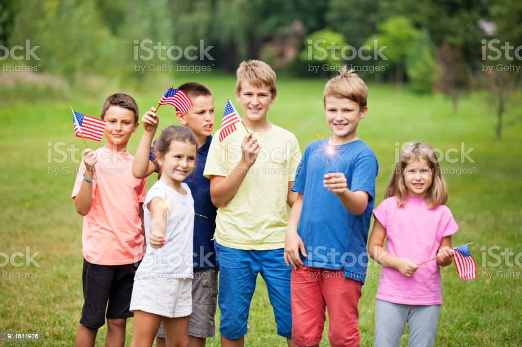 Group of Children with American Flags stock photo