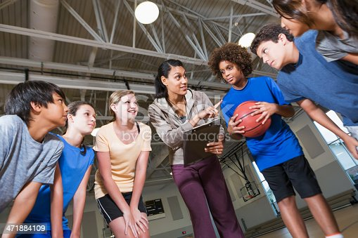 istock Group of children with basketball coach 471884109