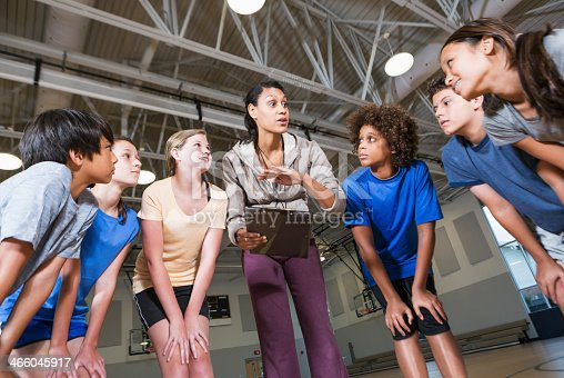 istock Group of children with coach in school gym 466045917