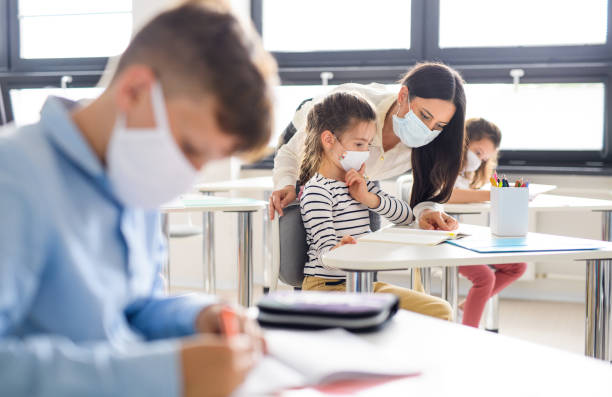 Group of children with face mask back at school after covid-19 quarantine and lockdown. Group of children with face mask back at school after covid-19 quarantine and lockdown, learning. school building stock pictures, royalty-free photos & images