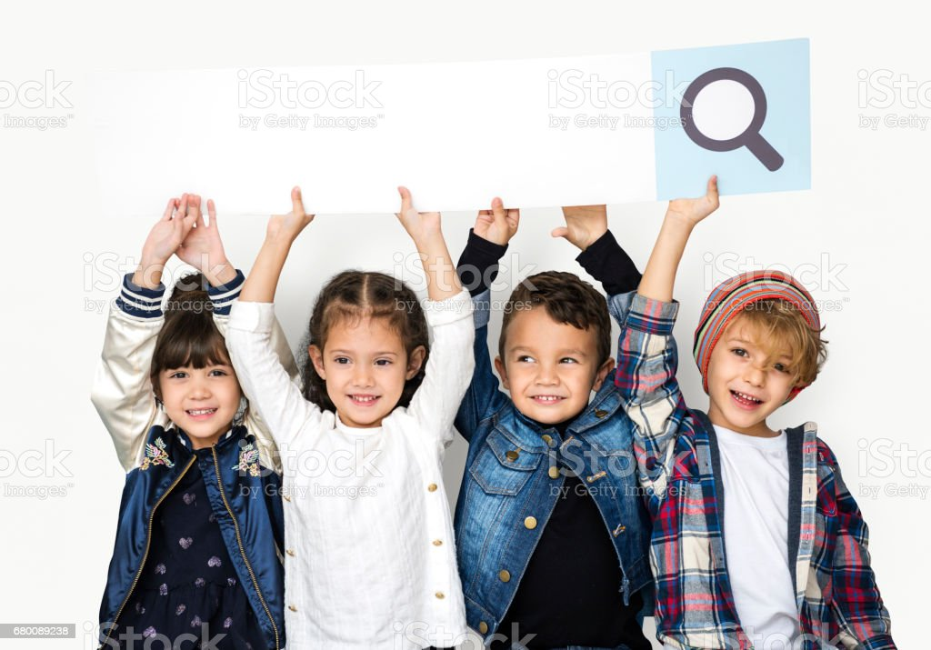 Group of children with searching sign stock photo