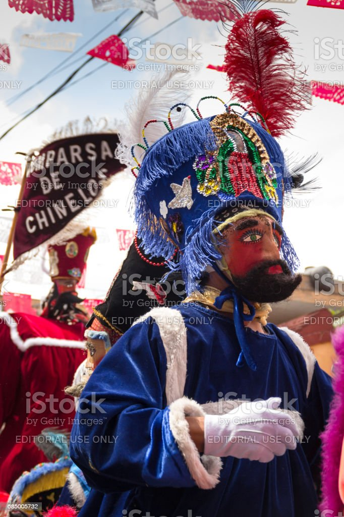 Group of 'Chinelos' in Mexico city. stock photo