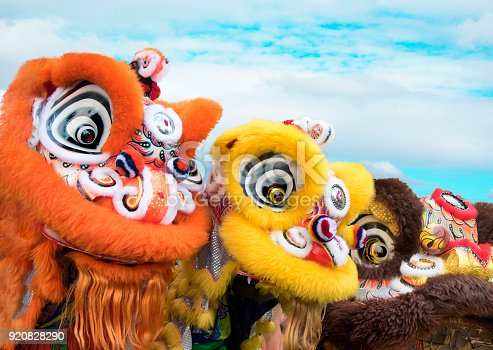 Group of Chinese lion dance costumes close up