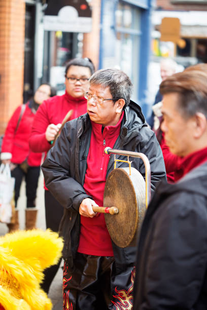 Group of Chinese musicians, playing for lion show for Chinese New Year. The festival takes place from 16 February till 4 March 2018. Dublin, Ireland 16 February 2018 stock photo