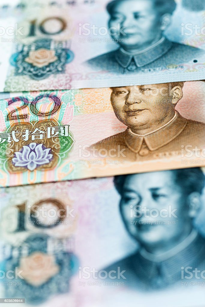 Group of Chinese paper currency stock photo