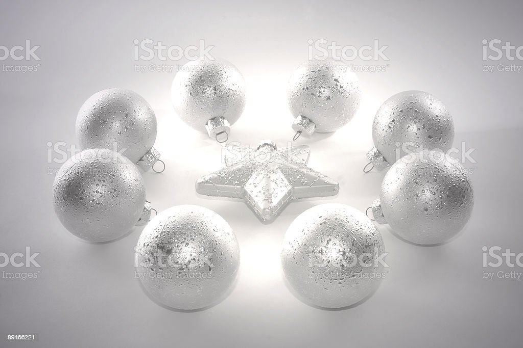 Group of Christmas Balls, Black and White Image royalty-free stock photo