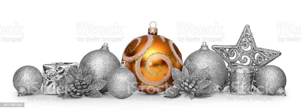 Group of christmas balls isolated on white background stock photo