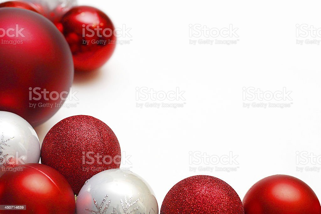 Group of Christmas Ornaments Framing White Background stock photo