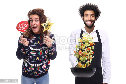 istock Group of christmas people with food 1086447722