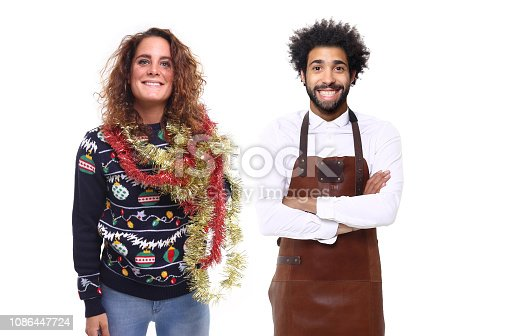 istock Group of christmas people with food 1086447724