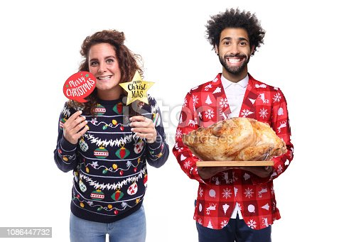 istock Group of christmas people with food 1086447732