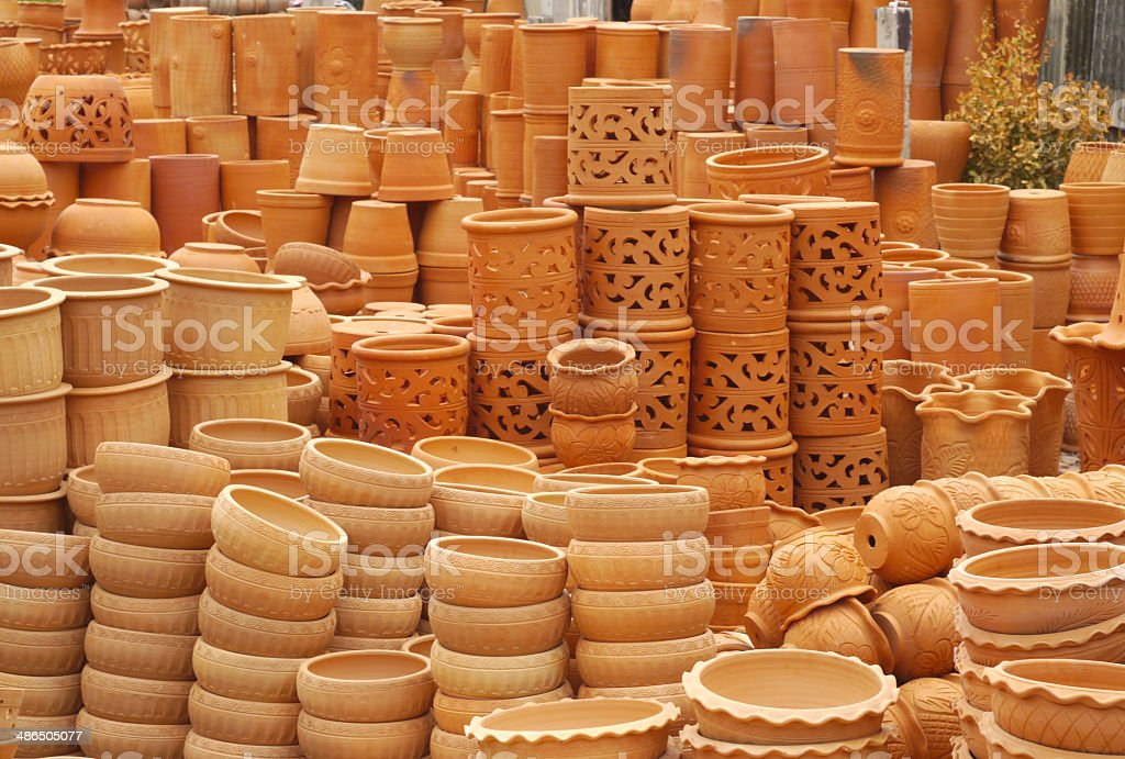 Group of clay vases royalty-free stock photo