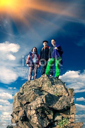 istock Group of climbers on sharp summit 480143468