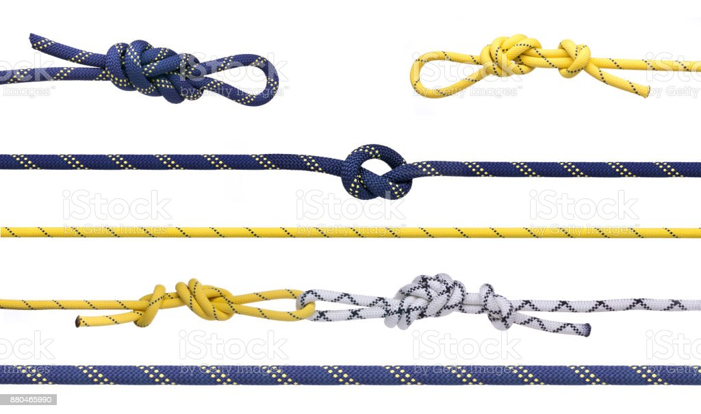 Group of climbing ropes and knots royalty-free stock photo