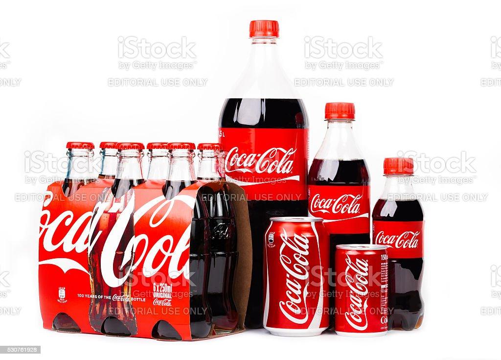 Grupo de Coca-Cola productos - foto de stock
