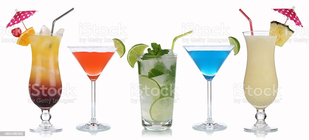 Group of cocktails isolated stock photo