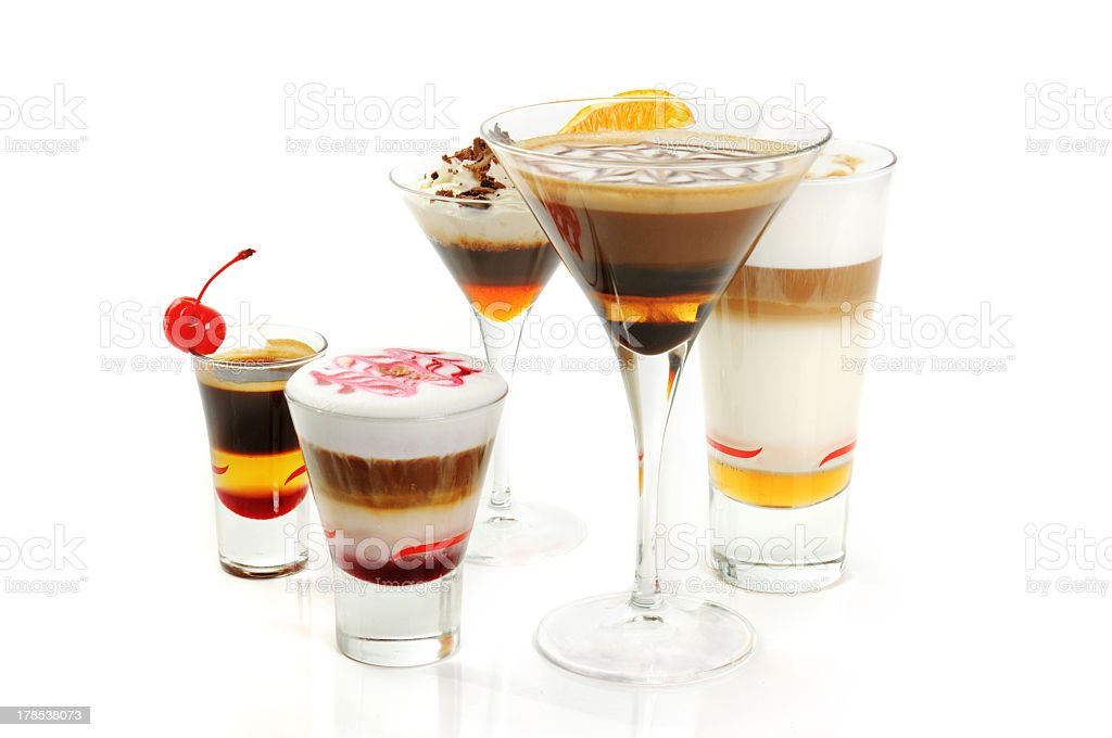 Group of coffee cocktails royalty-free stock photo